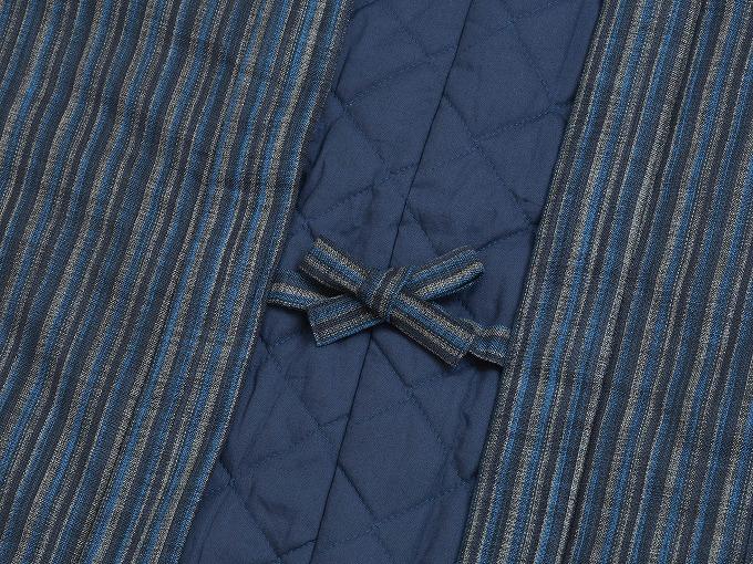 織縞模様綿入袢天 結び紐