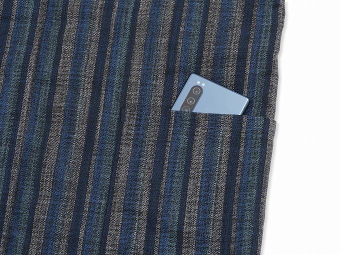織縞模様綿入袢天 ポケット