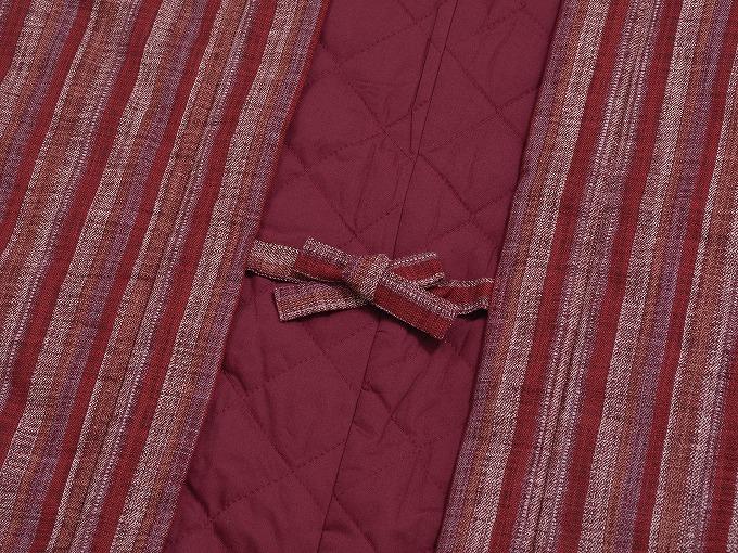和紡ぎ女性綿入袢天 結び紐