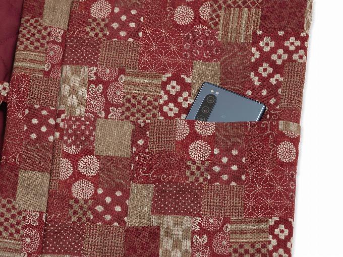 和紡ぎ女性綿入袢天 ポケット