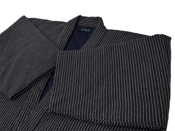 日本製 作務衣式綿入れ袢天 黒(ブラック) 上着オモテ