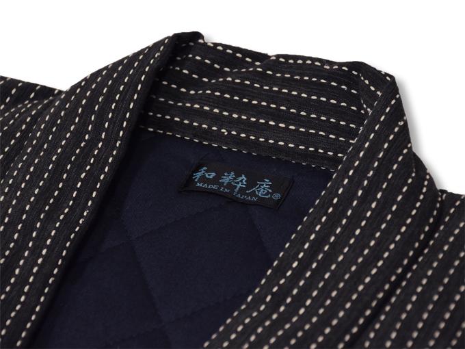 日本製 作務衣式綿入れ袢天 黒(ブラック) 衿部分