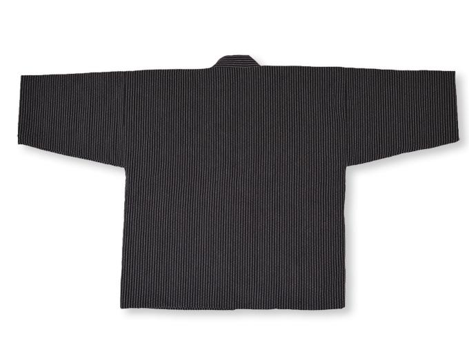 日本製 作務衣式綿入れ袢天 黒(ブラック) 上着ウラ