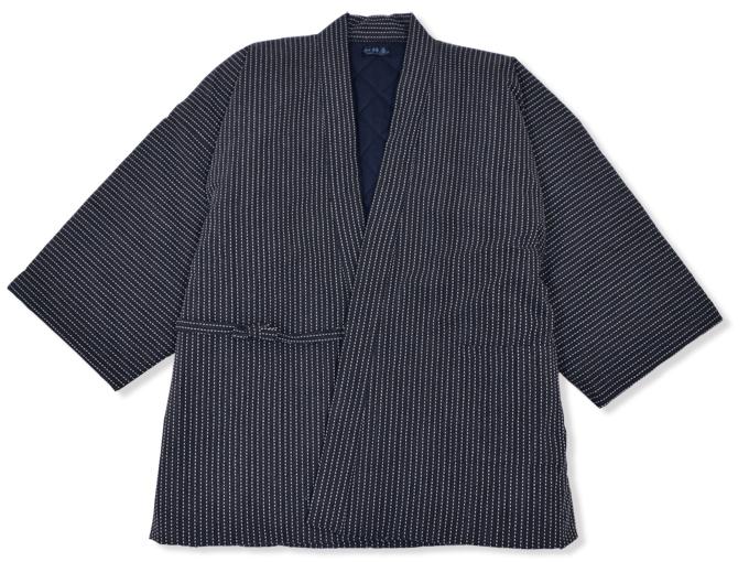 日本製 作務衣式綿入れ袢天 黒(ブラック)