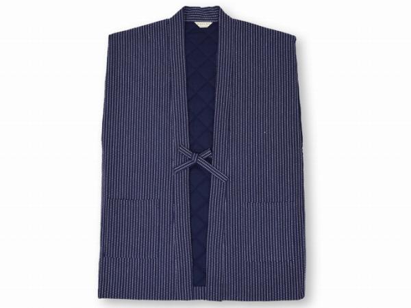 刺子織袖無し綿入れ袢天-陣羽織 濃紺 衿部分