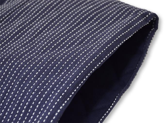 刺子織袖無し綿入れ袢天-陣羽織 濃紺 肩部分