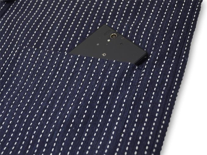 刺子織袖無し綿入れ袢天-陣羽織 濃紺 ポケット部分