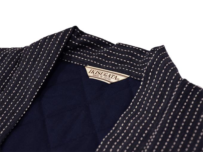 刺子織袖無し綿入れ袢天-陣羽織 黒(ブラック) 衿部分