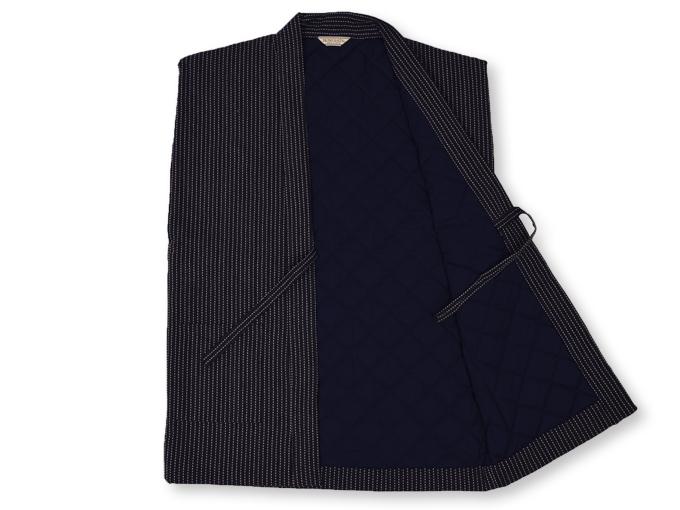 刺子織袖無し綿入れ袢天-陣羽織 黒(ブラック) 内側