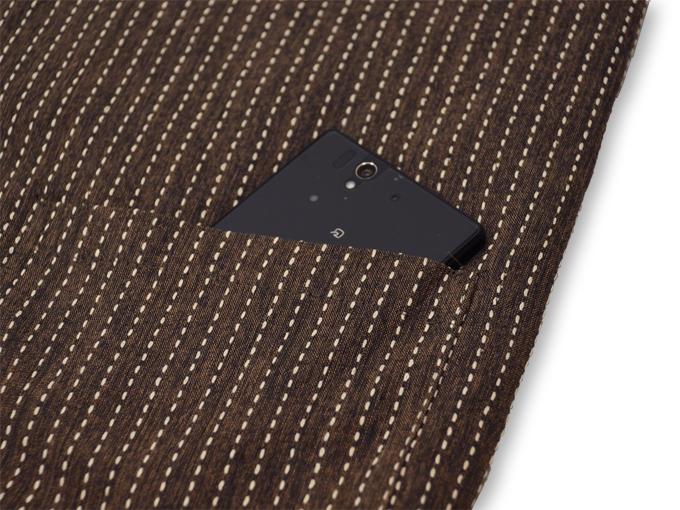 刺子織袖無し綿入れ袢天-陣羽織 茶 ポケット部分