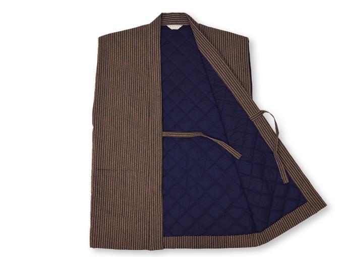刺子織袖無し綿入れ袢天-陣羽織 茶 内側