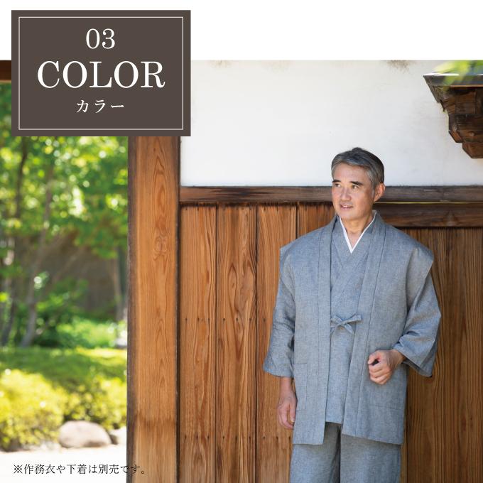 手紡ぎ風・遠州織袖無し綿入袢天 カラーについてイメージ