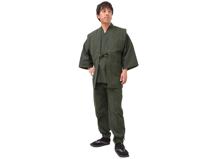 日本製大柄ドビー刺子・作務衣用羽織 グリーン