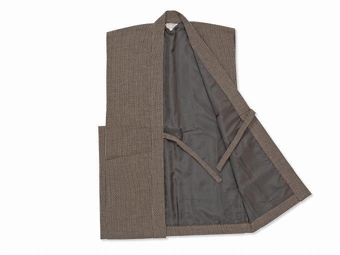日本製大柄ドビー刺子・作務衣用羽織 茶