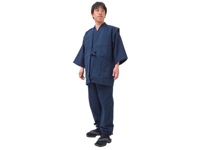 小柄ドビー作務衣羽織【濃紺】