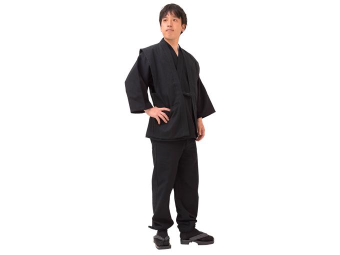 小柄ドビー作務衣羽織【ブラック】