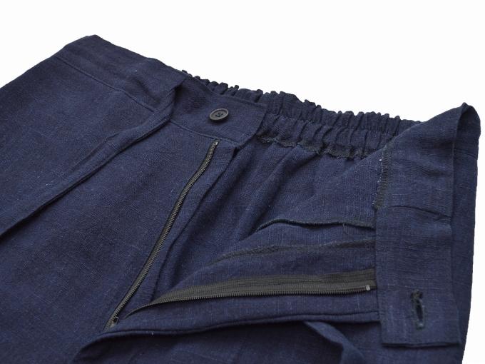 麻綿藍染作務衣 ズボンウエスト部分
