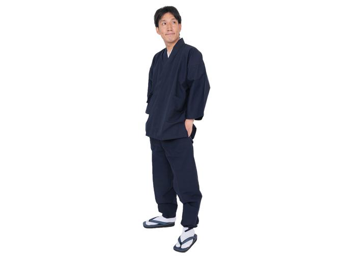 綿紬作務衣 No.1 濃紺 日本製 着用写真