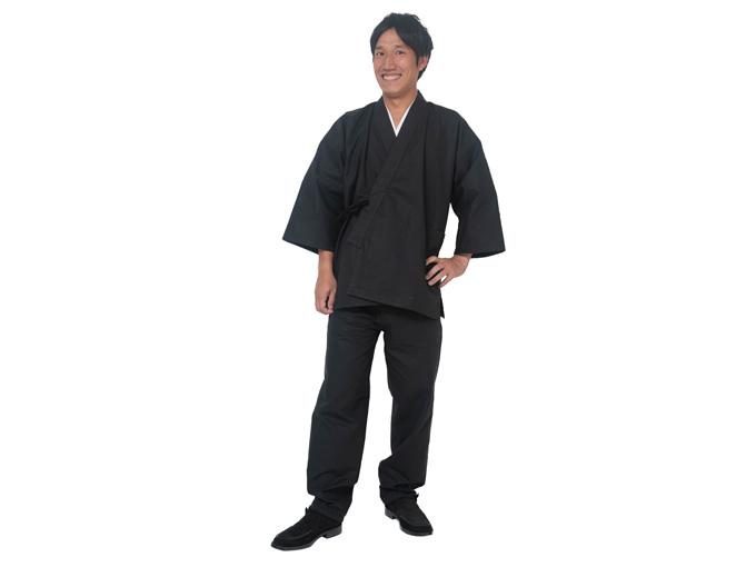 綿紬作務衣 No.3 黒 日本製