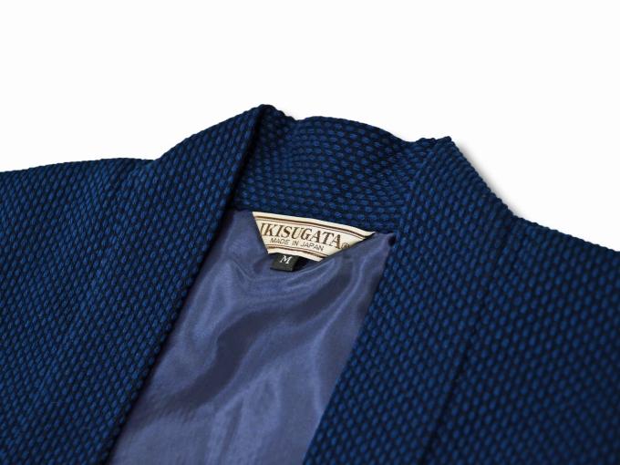 地厚刺子作務衣用羽織 濃紺(ネイビー・藍色)衿部分