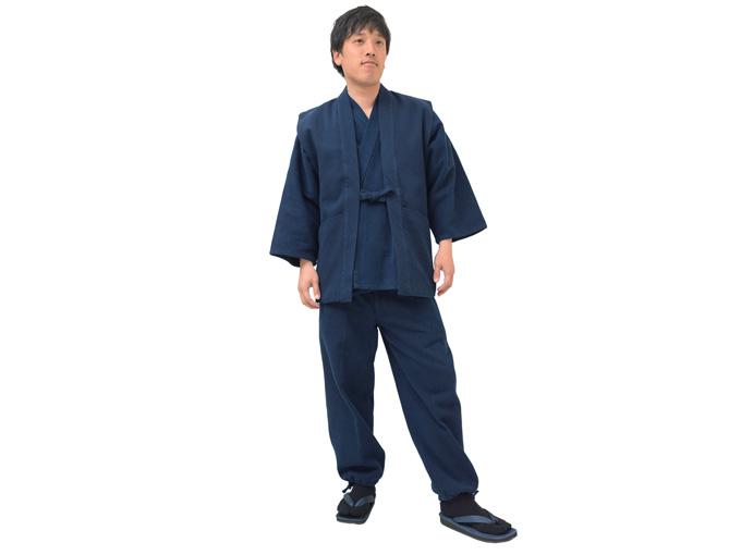 太刺子作務衣用羽織 濃紺(ネイビー・藍色)