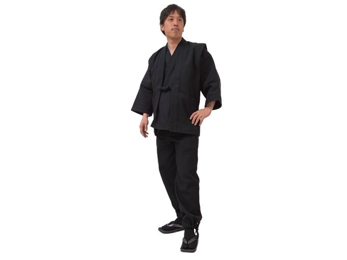 太刺子作務衣用羽織 黒(ブラック) 全身着用写真