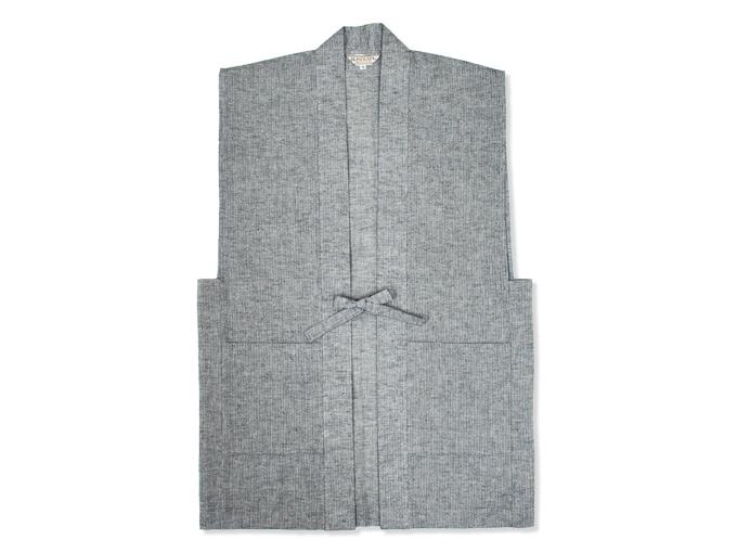 日本製綿麻しじら作務衣羽織 ネズ