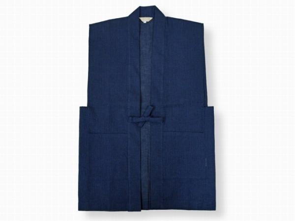 日本製綿麻しじら作務衣羽織 濃紺