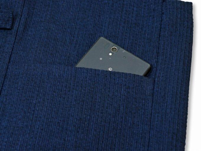 綿麻しじら夏向き作務衣羽織 濃紺ポケット部分