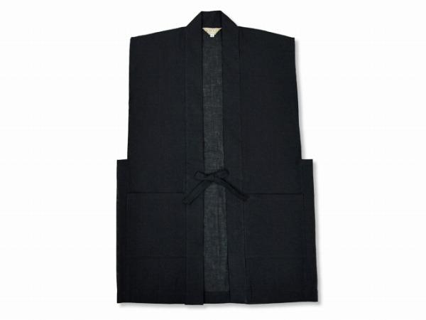 日本製綿麻しじら作務衣羽織 黒