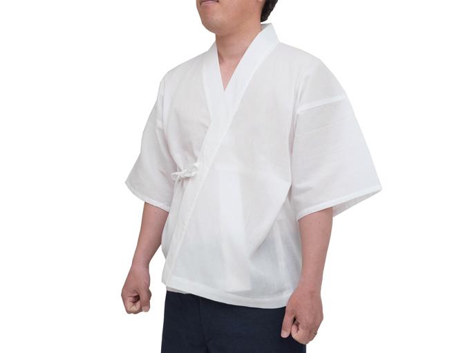 綿楊柳作務衣下着着用イメージ
