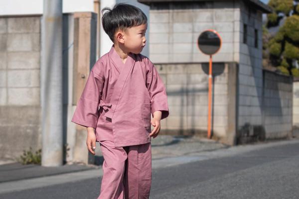 子供用綾織作務衣 ピンク