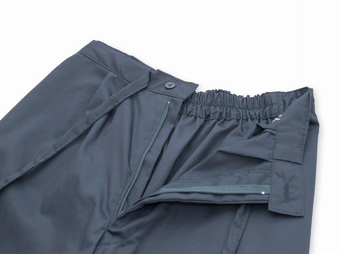 袖・裾ゴム式バーバリー織作務衣 日本製 ズボンウエスト部分