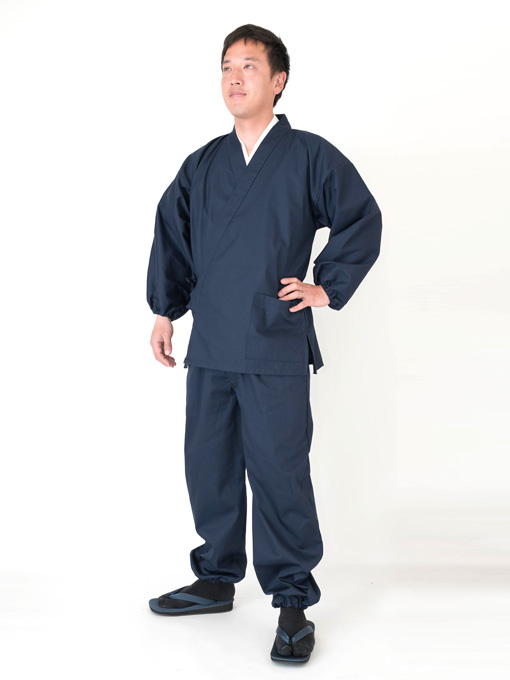 袖・裾ゴム式バーバリー織作務衣 日本製