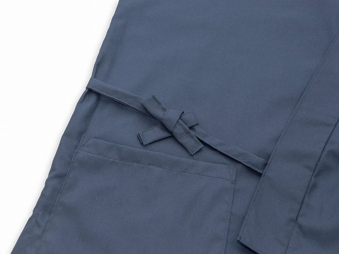 袖・裾ゴム式バーバリー織作務衣 日本製 上着紐部分