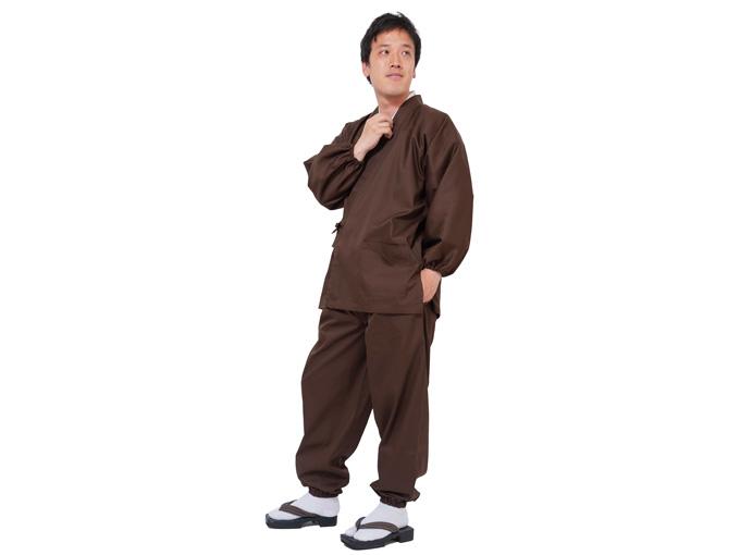 袖・裾ゴム式バーバリー織作務衣 日本製 全身着用写真