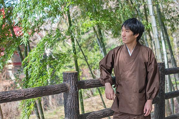 袖・裾ゴム式バーバリー織作務衣 日本製 イメージ写真