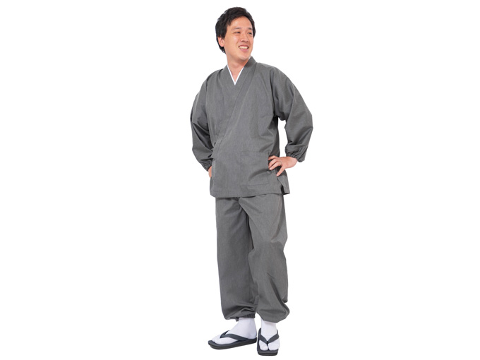 袖・裾ゴム式バーバリー織作務衣 日本製 生地拡大