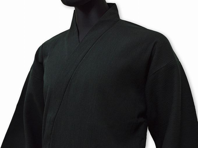綿楊柳・ゴム袖作務衣 黒(ブラック)着用写真