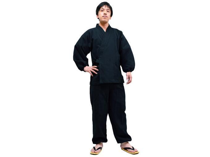 綿楊柳・ゴム袖作務衣 黒(ブラック)