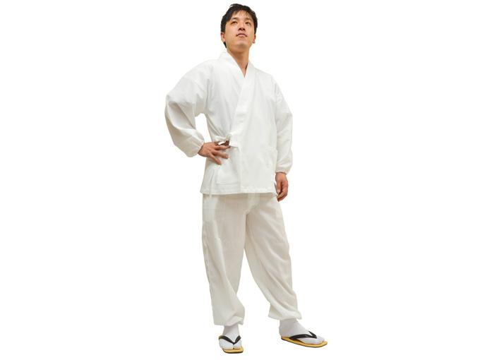 綿楊柳・ゴム袖作務衣 白(ホワイト)