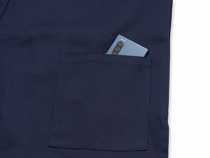 綿ポリ綾織作務衣 濃紺 上着ポケット