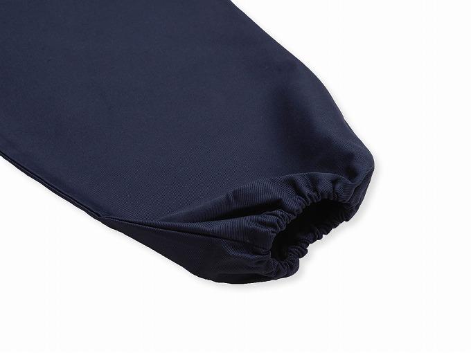 綿ポリ綾織作務衣 濃紺上着袖部分