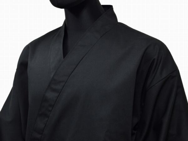 日本製綿ポリ綾織作務衣黒