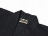 綿ポリ綾織作務衣 黒(ブラック)上着衿部分