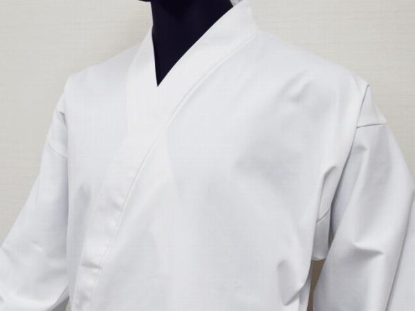 日本製綿ポリ綾織作務衣白