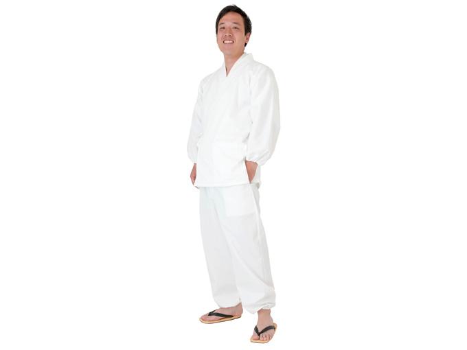綿ポリ綾織作務衣 白(ホワイト)
