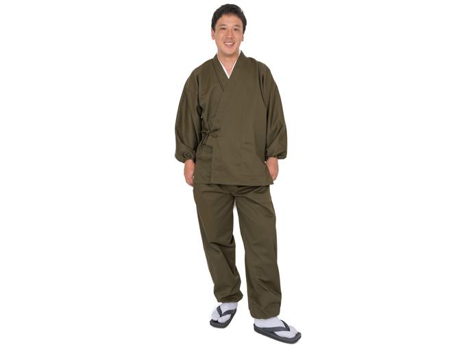 綿ポリ綾織作務衣 グリーン(緑) ※モデルは身長173cm体重70kg、Lサイズを着用しています。