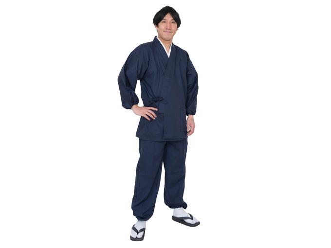 袖裾ゴム式テト麻作務衣 濃紺 着用写真