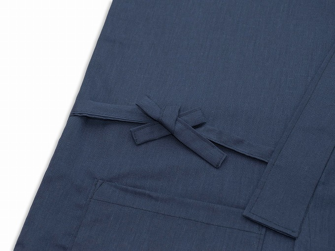 袖裾ゴム式テト麻作務衣 濃紺